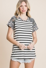 Red Door Ivory/Black striped top with leopard and camo
