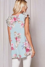 Red Door Blue floral top with spotted ruffle sleeves