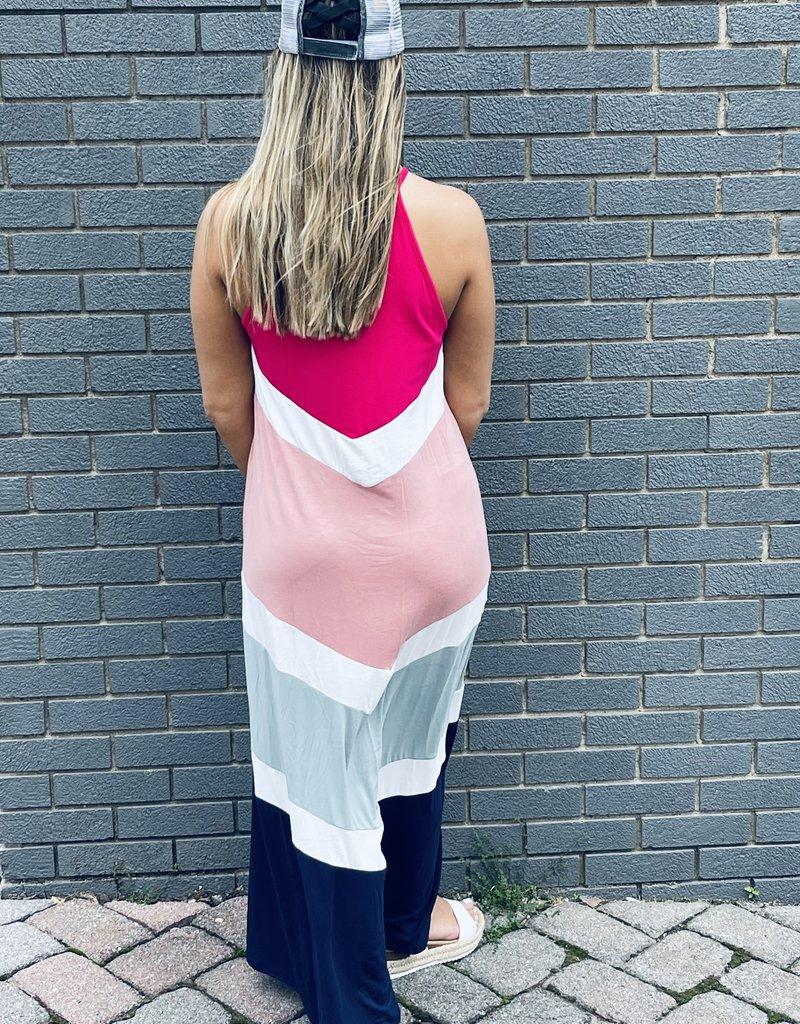 Red Door Color block tank top dress