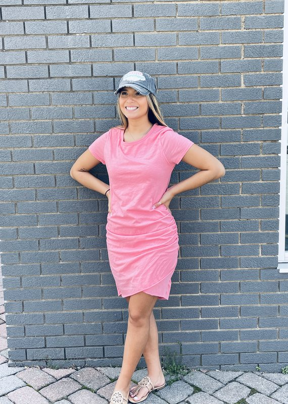 Red Door Coral side ruched dress