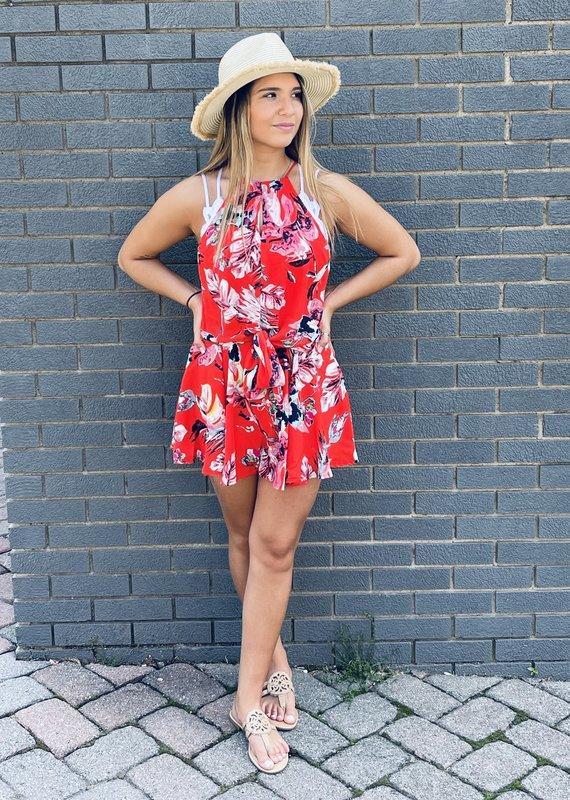 Red Door Red floral sleeveless romper