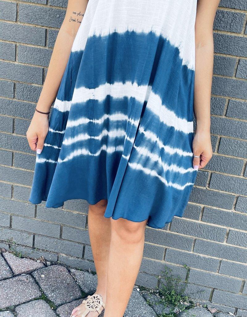 Red Door Blue tie-dye tank dress