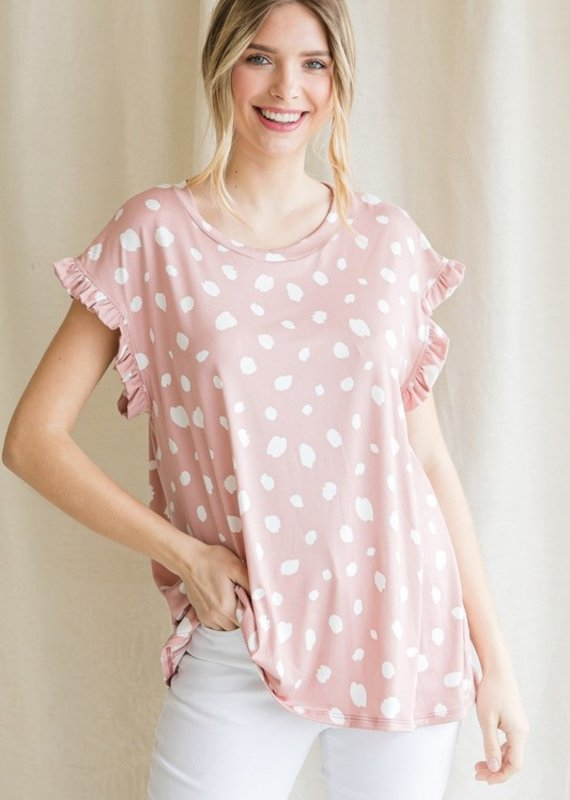 Red Door Mauve polka dot top