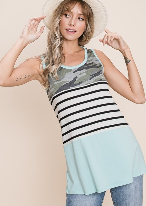 Red Door Mint colorblock tank with camo and stripes