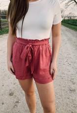 Red Door Berry linen paper bag shorts