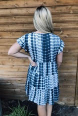 Red Door Blue and white babydoll tie dye dress