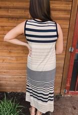 Red Door Navy striped tank maxi dress