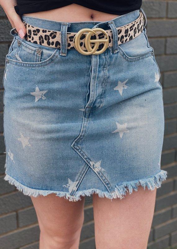 Red Door Star print denim skirt