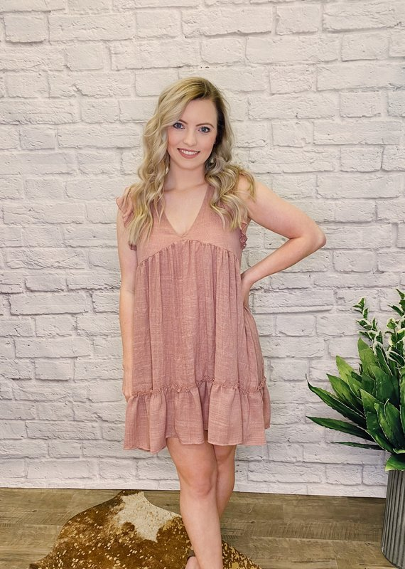 Red Door Mauve ruffle sleeve babydoll dress