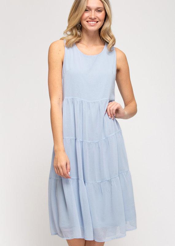 Red Door Light blue sleeveless tiered dress