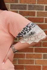 Red Door Peach waffleknit top with leopard