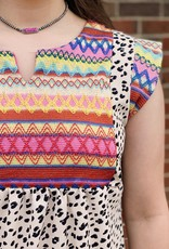 Red Door Spotted dress with colorful detail
