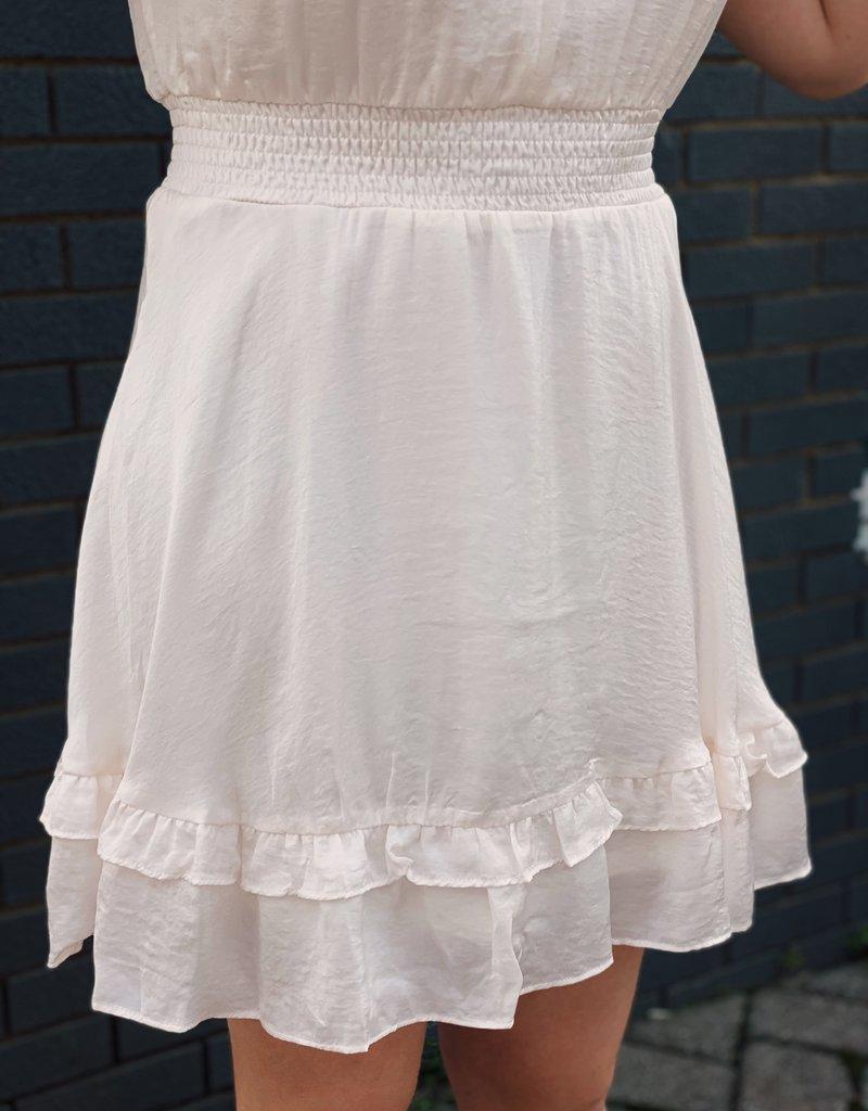 Red Door Cream sleeveless smocked dress