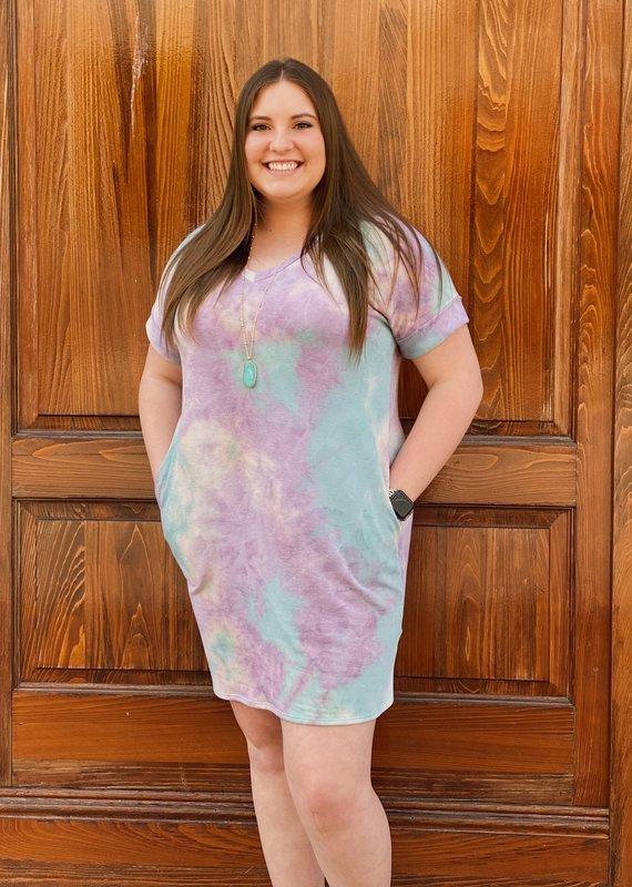 Red Door Purple/Green mix tie dye  tshirt dress