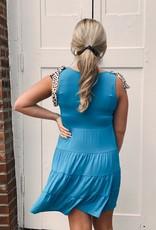 Red Door Blue sleeveless dress with leopard tie