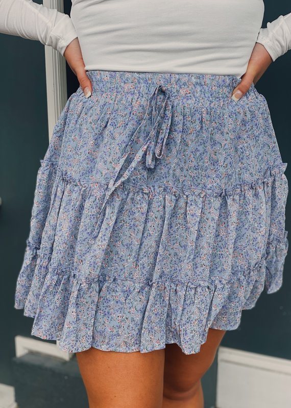 Red Door Lilac floral tiered skirt