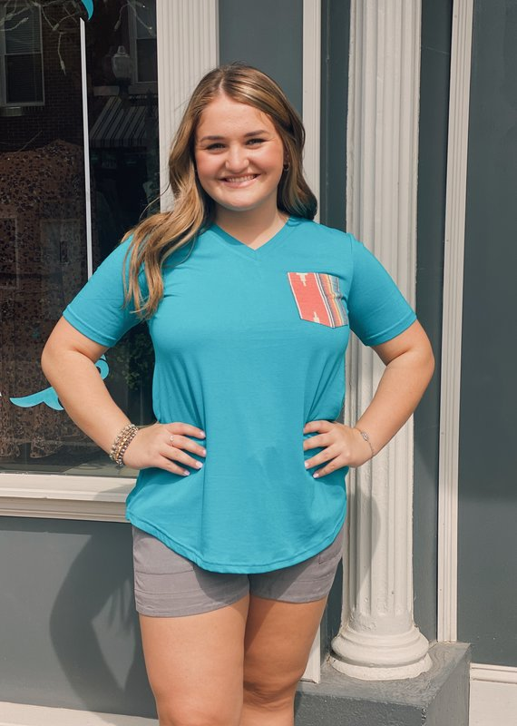 Red Door Blue v neck top with serape pocket