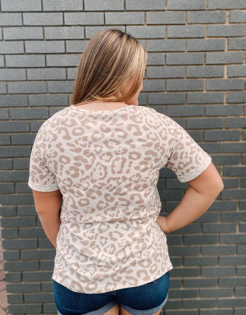 Red Door White top with tan leopard top