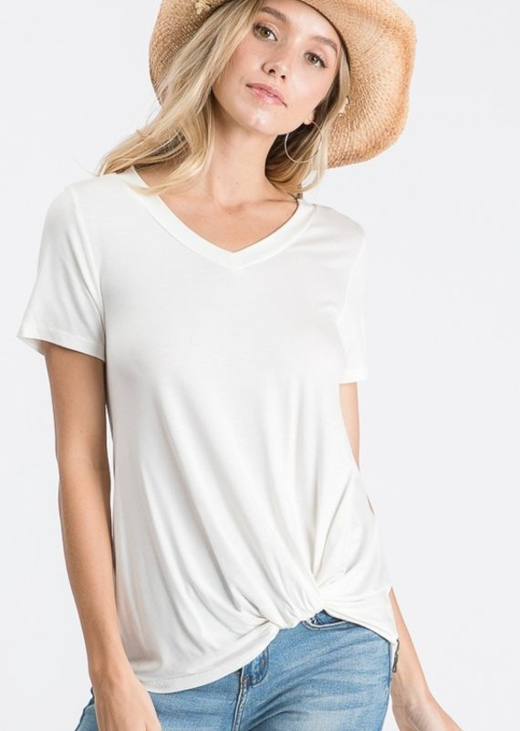 Red Door Solid v-neck knotted top