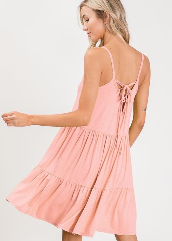 Red Door Laced up back detail dress