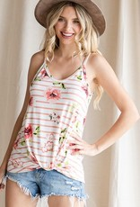 Red Door Floral tank with stripes and knot hem
