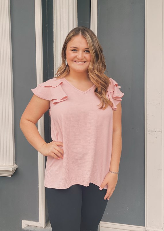 Red Door Solid v-neck top with ruffle sleeves
