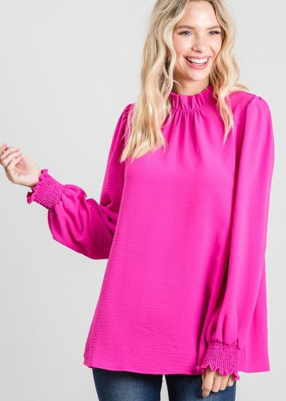 Red Door Pink long sleeve ruffle top