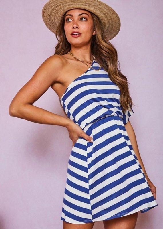 Red Door Blue striped one shoulder dress
