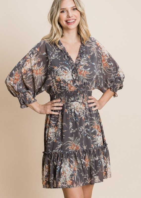 Red Door Gray floral dress with cinched detail