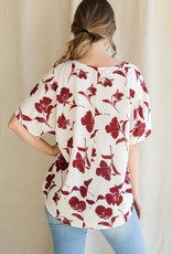 Red Door Floral v-neck dressy top