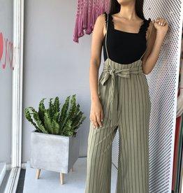 Tie Belt Overall Pants