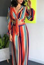 Rainbow Crop Top With Tie