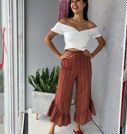 Yarn Dye Cotton Multistripe Skirt