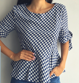 Diamond Gingham Print Top
