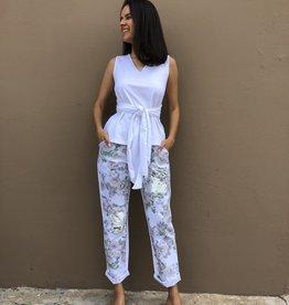 Floral Printed Sequin Jean