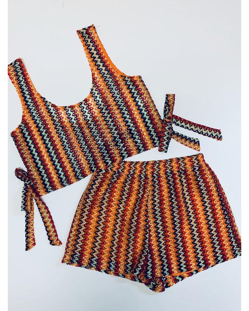 Multicolor Print Side Tie Tank Top
