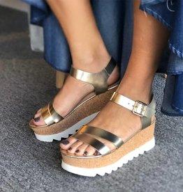 Gold Leather Platform