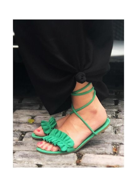 Ruffle Flat Sandal Green