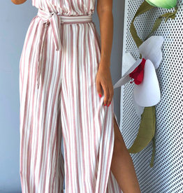 O Ring Trim Front Stripe Jumpsuit