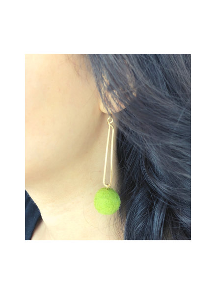Gold and Green Long Earrings