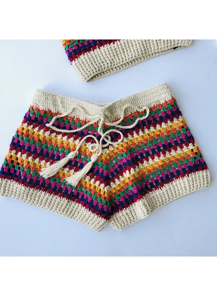 Striped Crochet Shorts