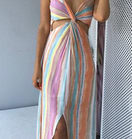 V neck Multicolor Stripe Hi-Lo Midi dress