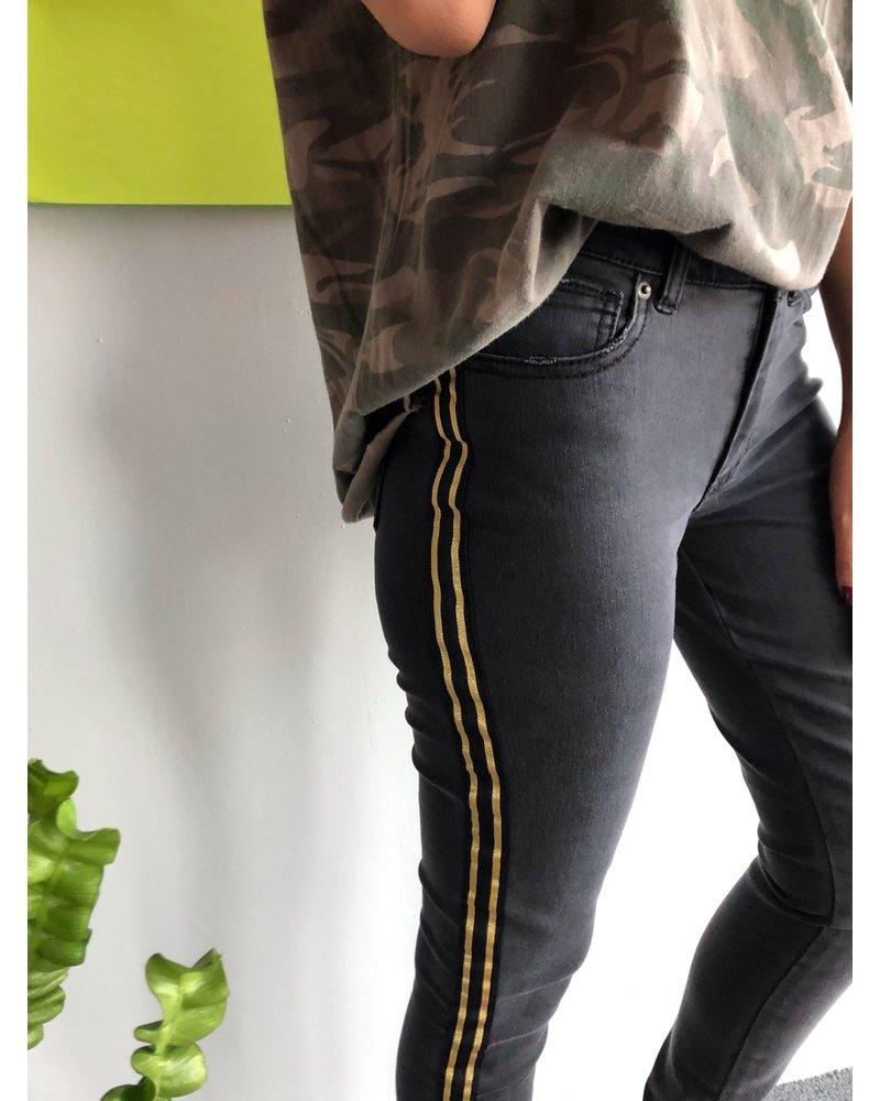Gold Contrast Skinny Denim Pant