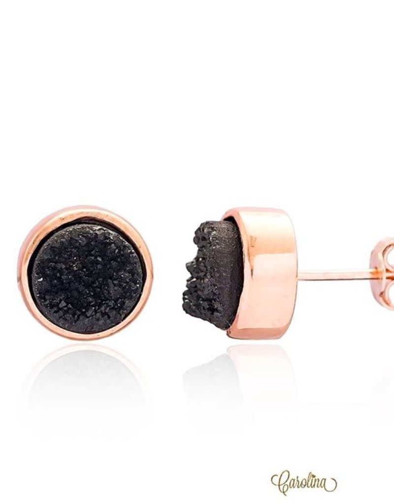 CAROLINA JEWELRY BY ME Black Rose Gold Druzy Stud