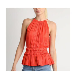 Pleated HalterTop With Back Cut Out