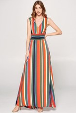 Smocked Waist Multi Stripe Maxi Dress