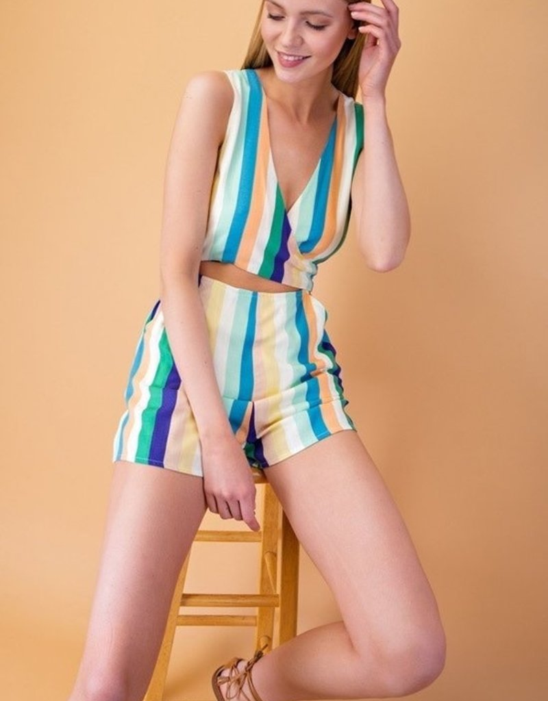 Striped Sleeveless Romper w Back Tie