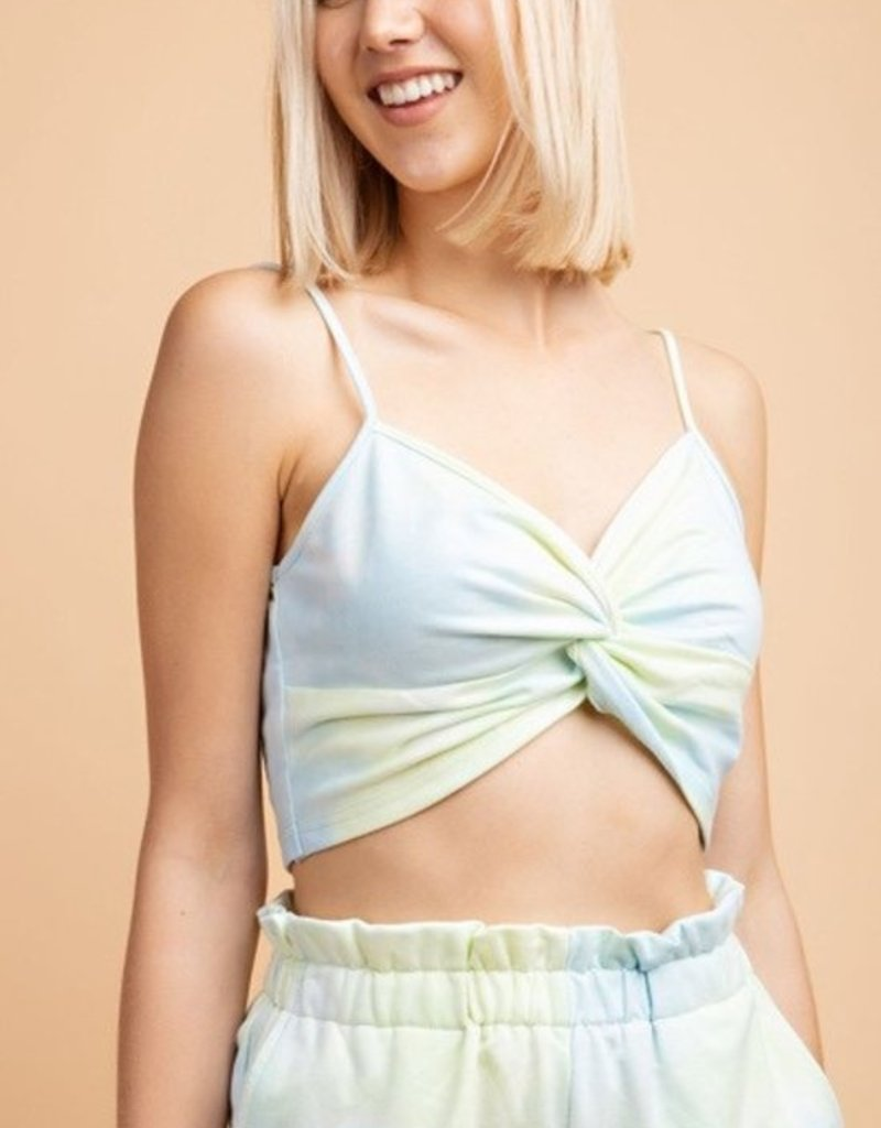 Tie Dye Front Twist Crop Top