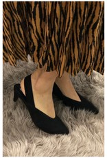 V- Suede Point Black Liter Heels