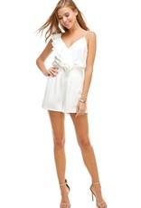 Asymetric Ruffle Bodysuit White